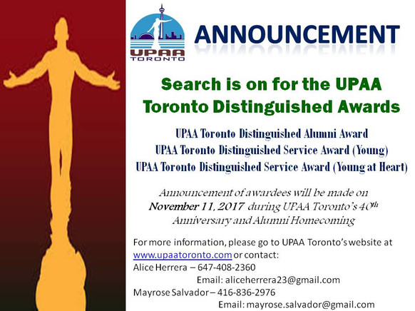 Search for the UPAA Toronto Distinguished Awards