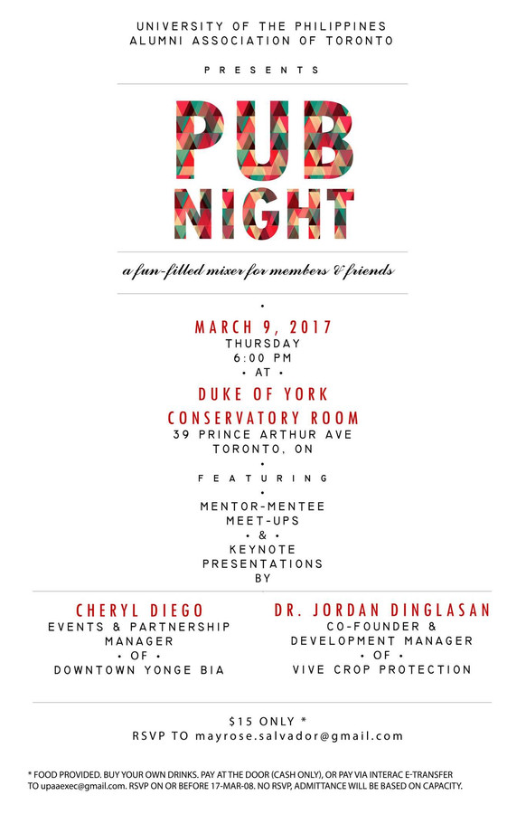 UPAAT Pub Night on March 9, 2017