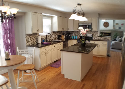 Remodeled kitchen in a new women's sober living home in Centennial, Colorado