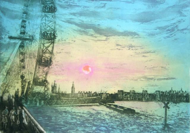 London Eye, sunset over Westminnster