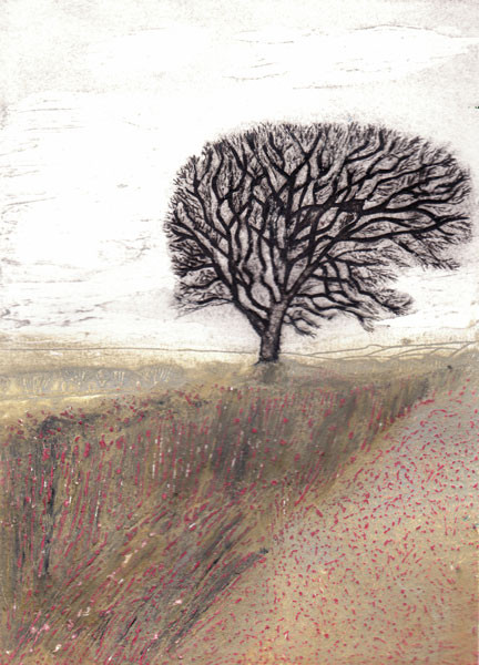 Field With a Tree (pink)