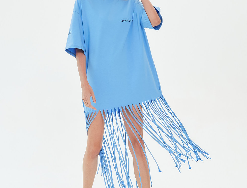 Платье футболка с бахромой