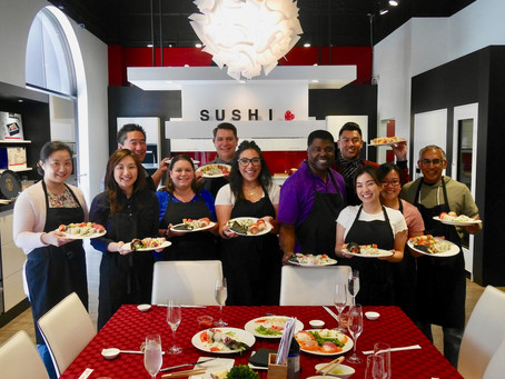 Group Photo from Team Building Sushi Class