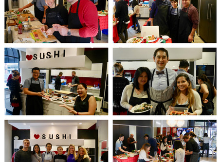 Photos from monthly Sushi Class