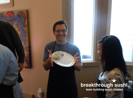 Photos from a recent team building sushi class for Shutterfly