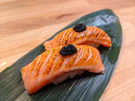 Seared Salmon Nigiri with Caviar
