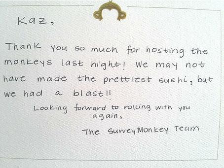 SurveyMonkey sent us a Thank You Card!
