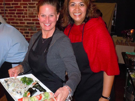 Photos from a recent team building sushi class for Verizon Wireless