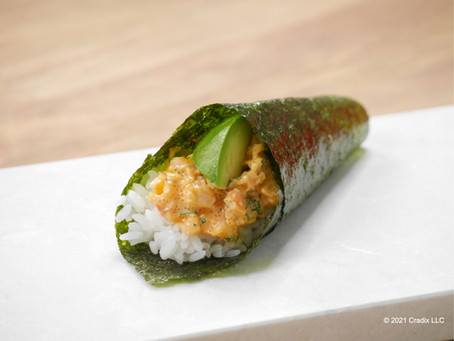 Homemade Recipe for Sushi: Spicy Shrimp & Spicy Salmon Temaki (hand roll)