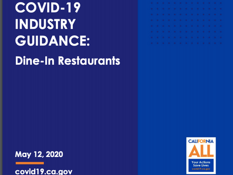 California Announces Dine-in Restaurants Guidelines