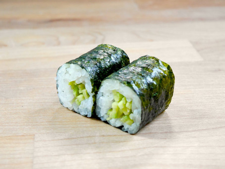 Homemade Recipe for Sushi: Wasabi Roll (Hosomaki, Thin Seaweed Out Roll, 6pc)