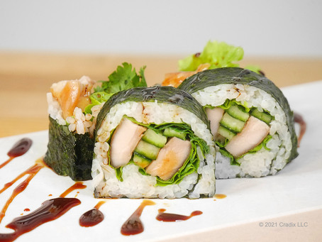 Homemade Recipe for Sushi: Teriyaki Chicken Roll! (Nori  Seaweed Out Chumaki Medium Roll, 4pc)