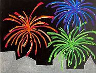 Fireworks Art Project for Kids, 4th of July Art Project for Kids, July 4th Art for Kids, How to Draw Fireworks Lesson, Easy Fireworks Drawing, Analogous Color Lesson for Kids, Fireworks using Soft Pastels, Fireworks and City Drawing for Kids