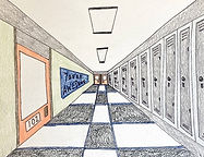 One Point Perspective School Hallway Drawing, Elementary Art Lesson Plan, Junior High Art Lesson Plan, How to Draw One Point Perspective Kids, How to Draw a School Hallway, Simple One Point Perspective Lesson Kids, Free Online Art Kids One Point Perspective