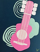 Guitar Collage, Art Project for Kids, Henri Matisse Guitar for Kids, Guitar Art Project for Elementary Students, Guitar Cut-out, Homeschool Art Project, Art Project for Kids The Masters, Collage for Students, Elemetary Art,