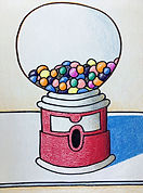Gumball Machine Drawing, Wayne Thiebaud Gumball Machine, Elementary Art Project, Art Project for Students, Art Project for Homeschool, How to Draw a Gumball Machine, Simple Gumball Machine Drawing for Kids