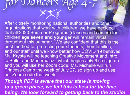 Summer Class Information for Dancers Age 4-7