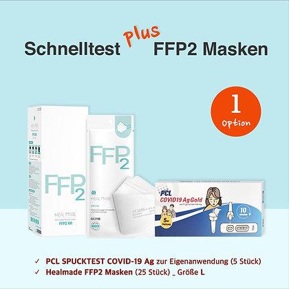 Spuck-Selbsttest 5 St & FFP2 Masken Set