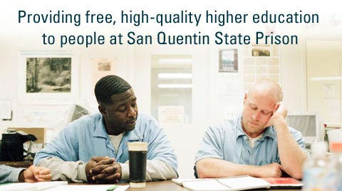 Prison University Project Promotional Image of Two Men in Prison Uniform Studying