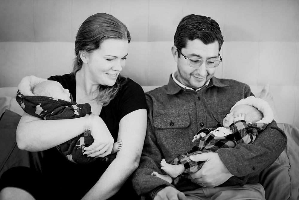 family portrait newborn twins