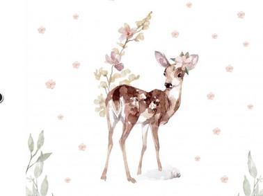 Biche et fleurs