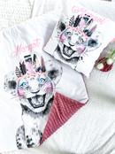 Couverture motif Lionceau Girl et minky