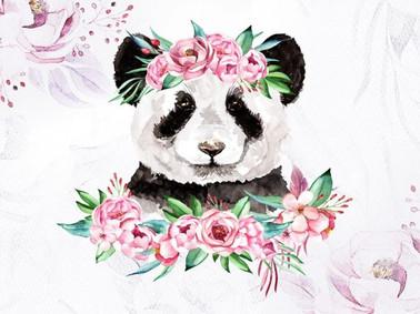 Pandas et pivoines