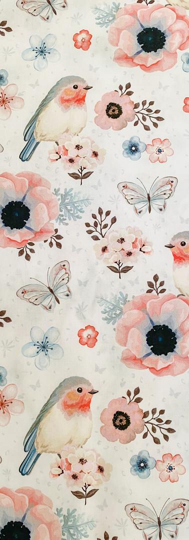 57 - Oiseau bleu et rose _ fleurs