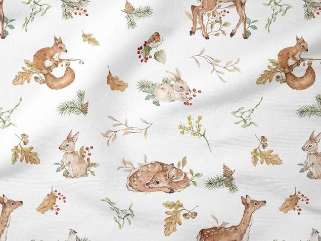 Faon couchés lapins et houx