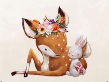 Faon lapin et fleurs