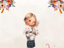 Faon lapin et fleur (fillette)