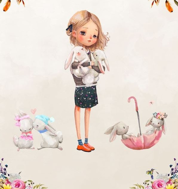 Faon lapin et fleur (fillette).JPG