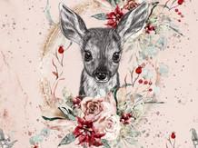tête de biche et fleurs rouges