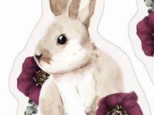 CoussinTanuki -Lapin Beige et Fleurs lie