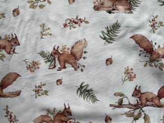 58 - Ecureuil faon et fleurs roses