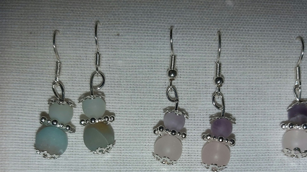 Gemstone angel drop earrings (pairs)