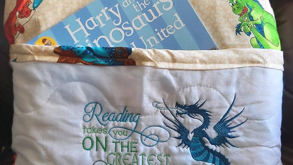 Dragon reading pocket cushion.
