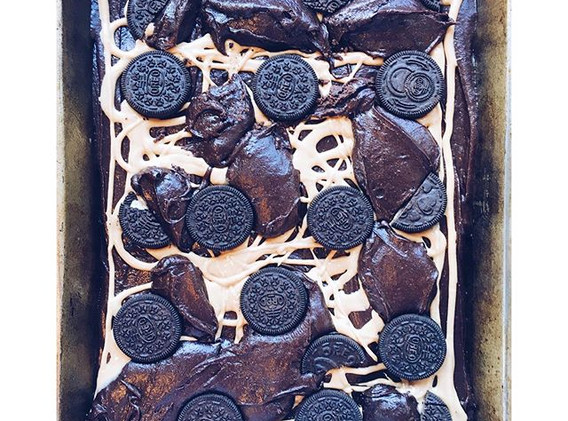 Chocolate, peanut butter and Oreo browni