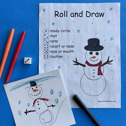 Roll and Draw Snowman