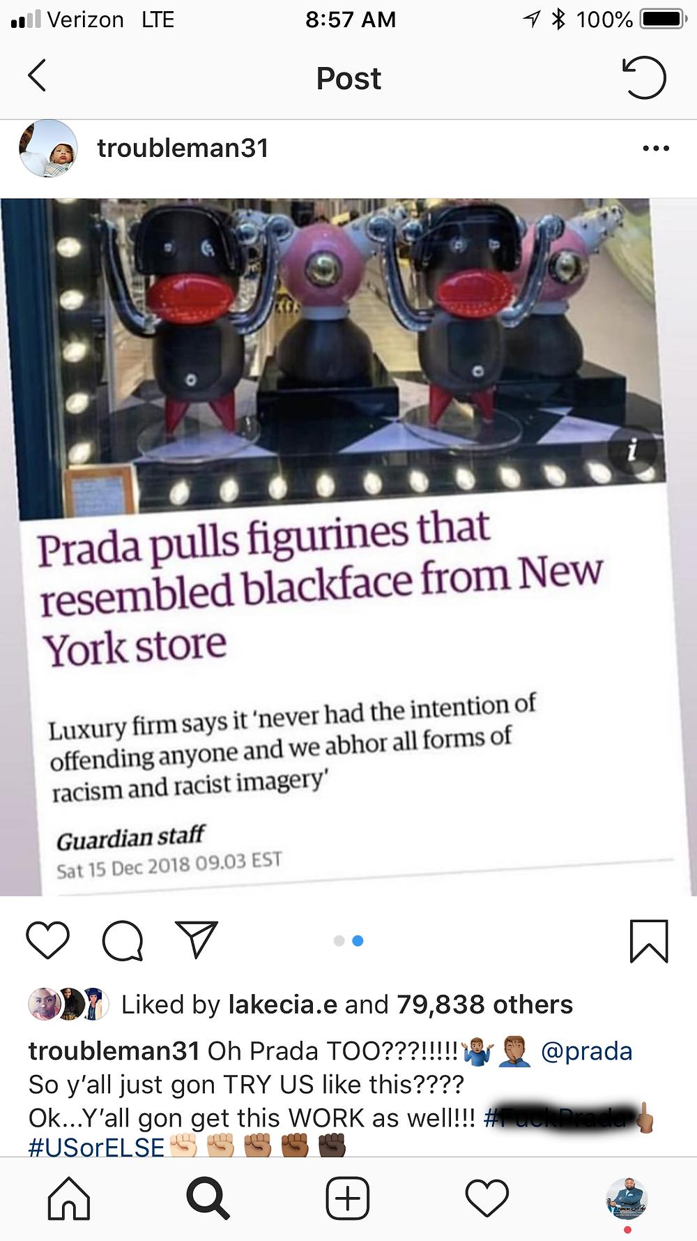 Blackface dolls made by high-end fashion brand PRADA
