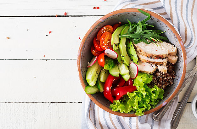 Buddha bowl dish with chicken fillet, qu