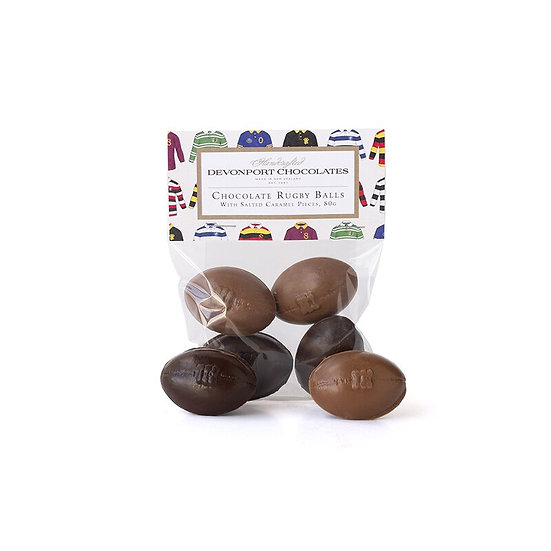 Chocolate Rugby Balls, Salted Caramel.