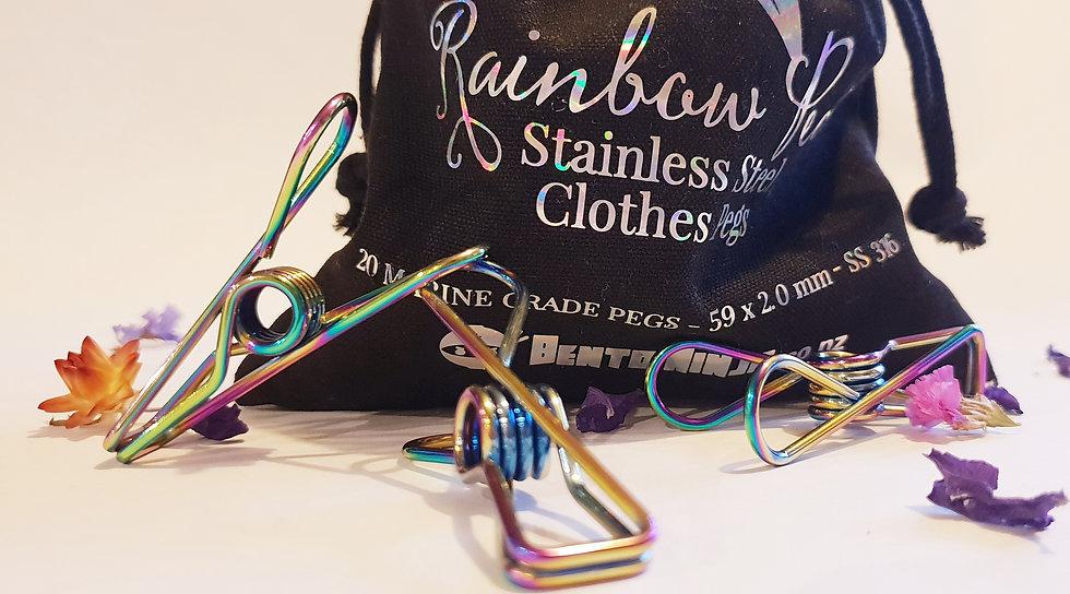 20 Rainbow Stainless Steel Pegs- Bento Ninja