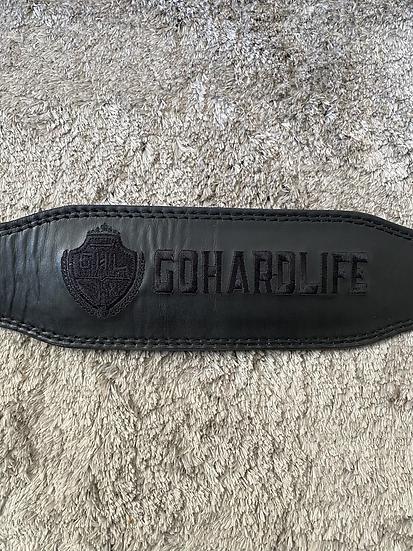 Black on black genuine leather training belt.