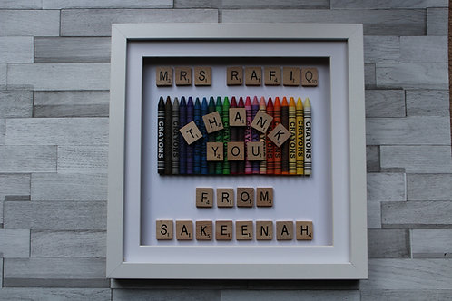 Personalised Thank you Frame with teacher and child name
