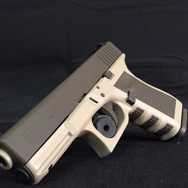 Glock G17 finished in Cerakote Patriot Brown and Desert Sand