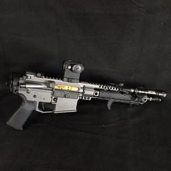 Pistol build for GunsAmerica, finished in Cerakote gun coatings Tungsten Grey