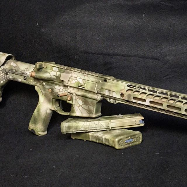 AR finished in Cerakote, Kryptec Highlander pattern