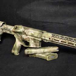 AR finished in Cerakote, Kryptec Highlander pattern