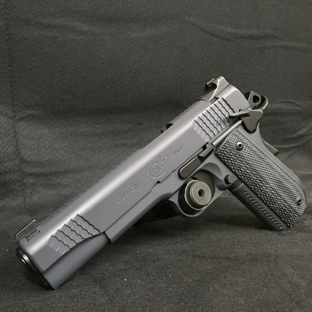 Kimber pistol finished in Cerakote Combat Grey and Graphite Black